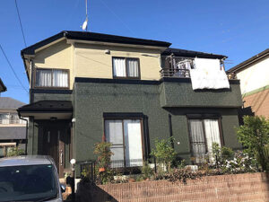 緑×ベージュの家